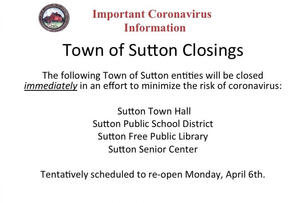 Town of Sutton Closings