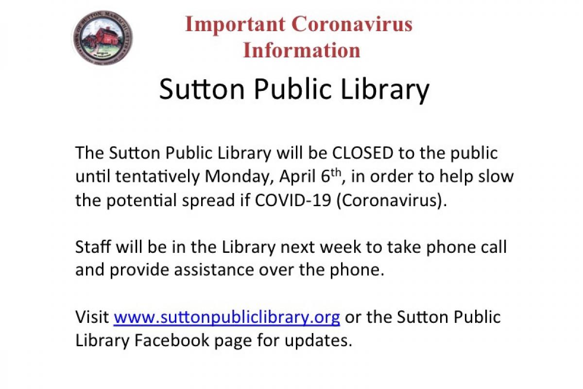 Sutton Free Public Library Updates