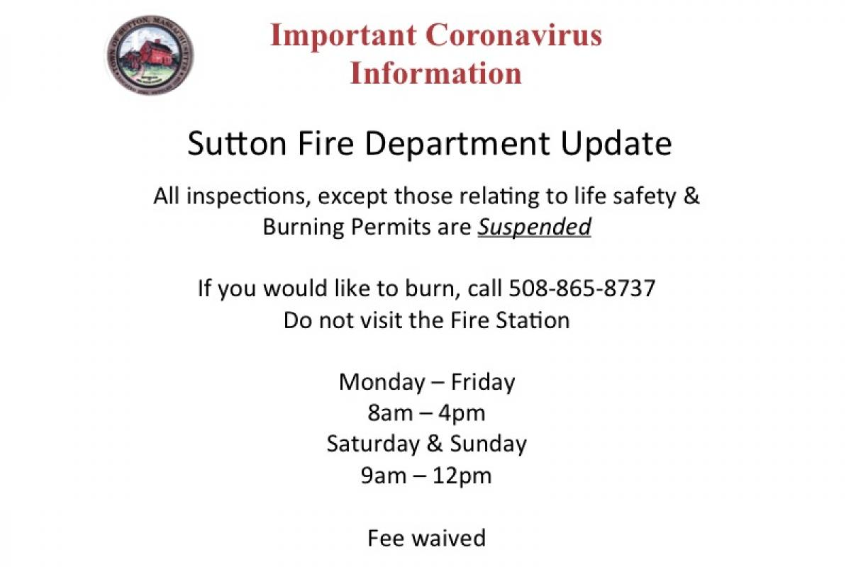 Sutton Fire Department Updates