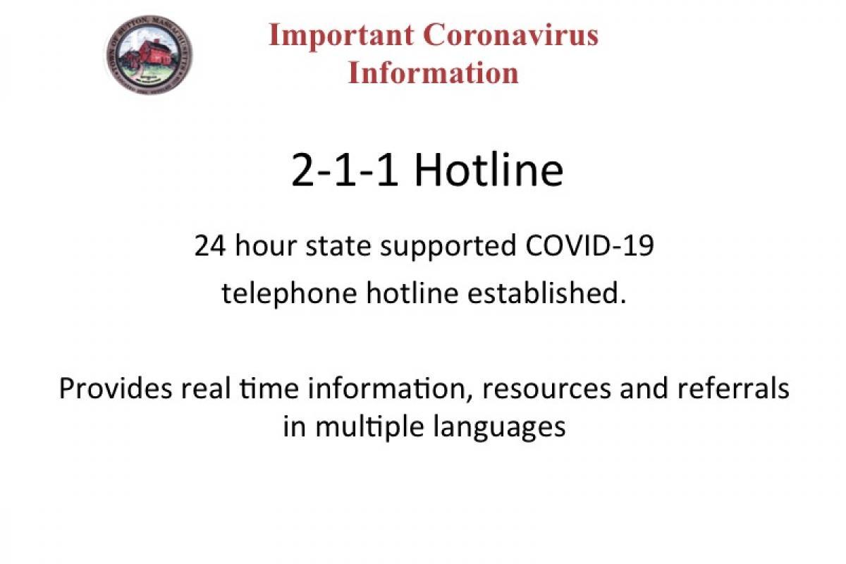 2-1-1 Coronavirus Hotline