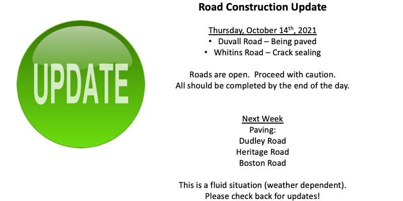 Road Construction Update